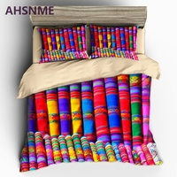 AHSNME Coloured Fabric Pattern Bedding set Bohemia Quilt Cover High definition Print Home Textiles Adapts multi country size EU