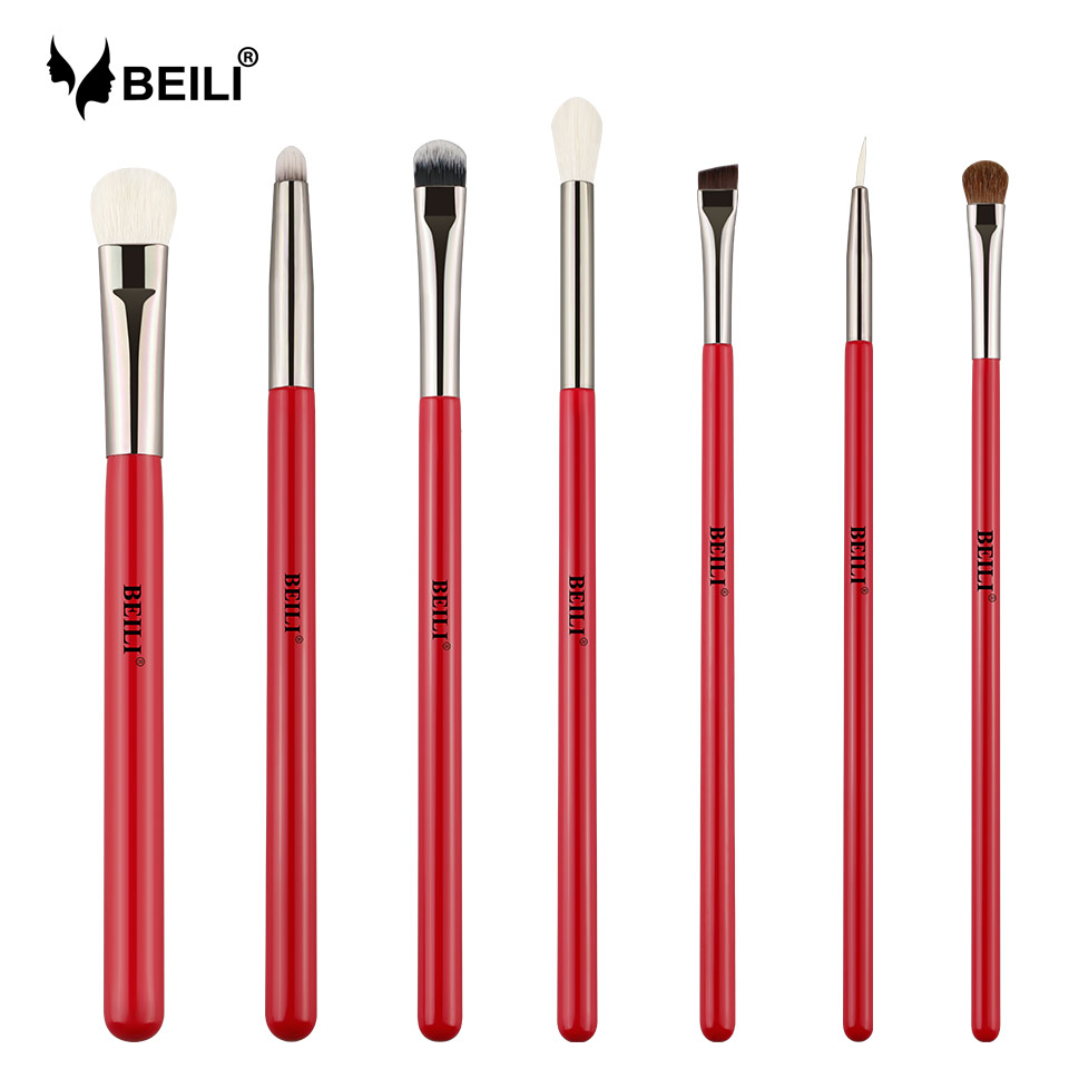 BEILI 7pcs Professional Eye Makeup Brushes Set Cosmetics Crease Eye Shadow Eyeliner Blender Natural Hair Makeup Brush Kit