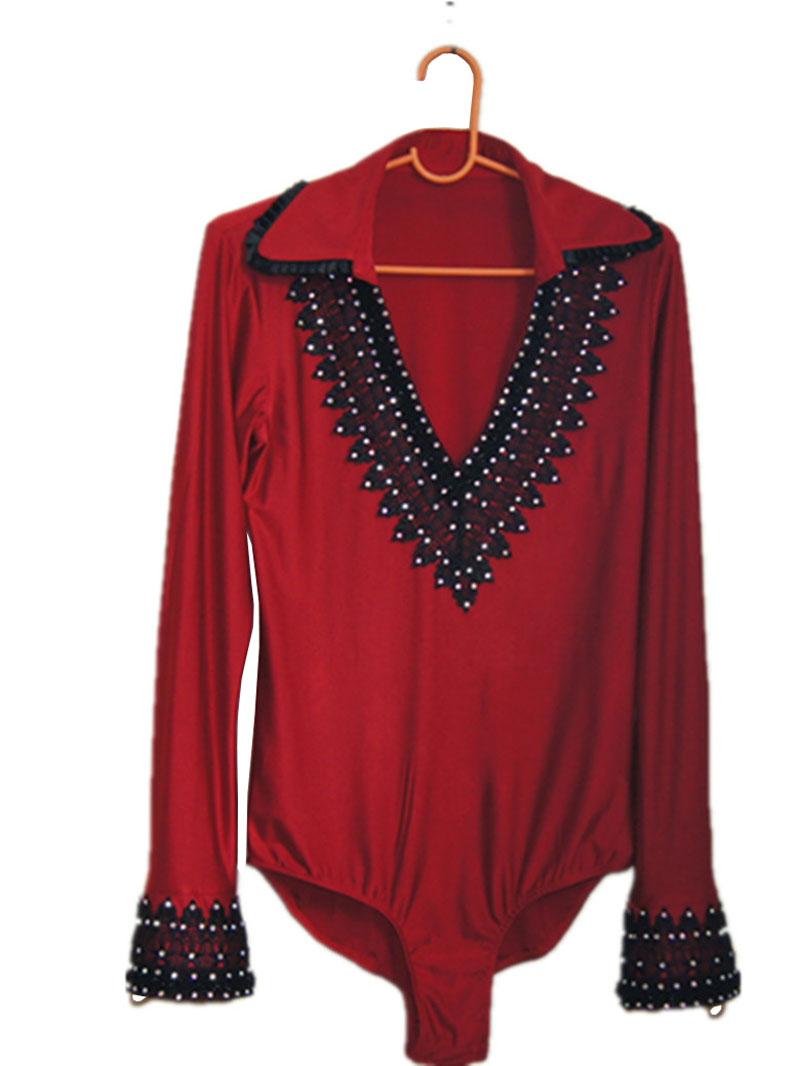 Vinho vermelho Strass Homens ballroom Latina camisa corpo rhinestone manga comprida decote em V com gola