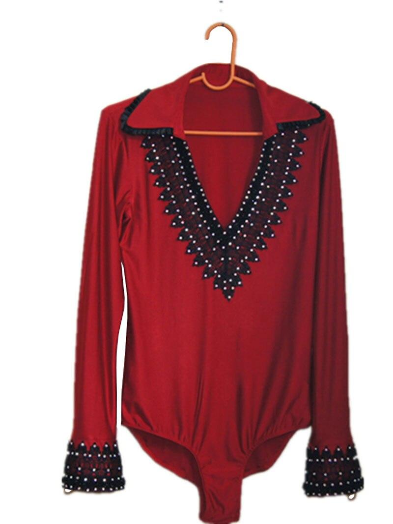Vino rojo Rhinestone hombres salón de baile latino body shirt rhinestone manga larga cuello en V con collar