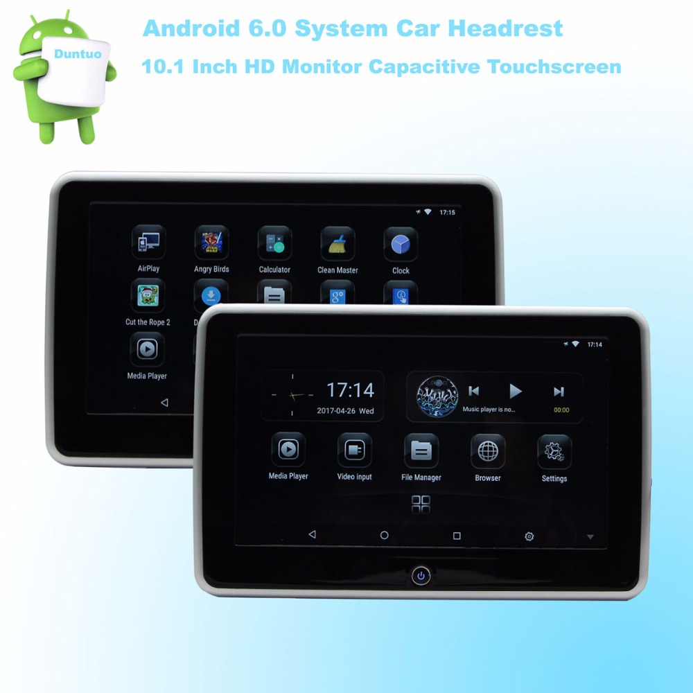 6.0 Android Headrest Car Multimedia Player HD 10.1 Inch Monitor Quad Core (4 Core) WIFI Wireless Miracast Phone – One Pair