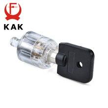 KAK Seven Core Plum Lock Cylinder Transparent Visible Pick Cutaway Practice View Padlock Training Skill For Locksmith Hardware