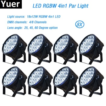 цена на 8Pcs/Lot 18x12W RGBW Led Par Light dmx512 wash spot par led Stage Light for Party KTV DiscoDJ led Lamp dj light moving head DMX