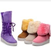 Cute Warm Winter Fur Snow Boots For Women Plus Size 34 43 Flock Fashion Short Lace