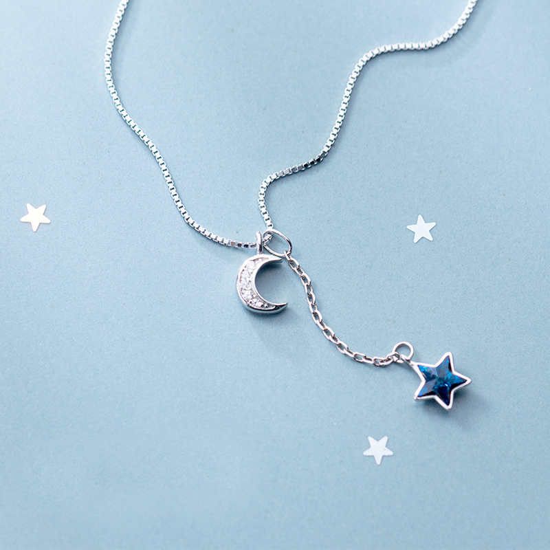 MloveAcc 100% 925 Sterling Real Silver Box Chain Choker for Women Blue Star & Moon Charms Pendant Necklace