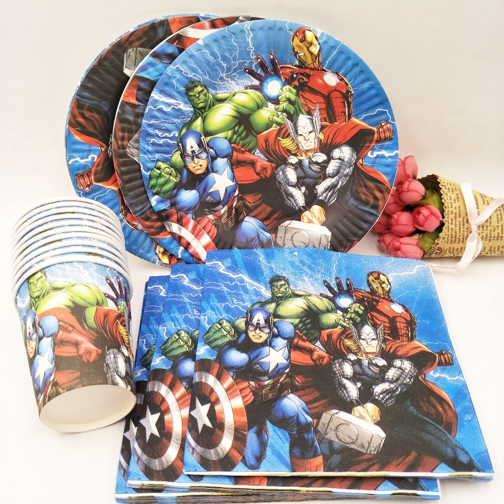 40pc/set Theme Cup/Plate/Napkin Avengers Party Supplies For Girls Party Decorations Party Supplies Favors party decoration