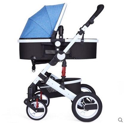 Oley stroller high landscape can sit or lie shock winter children baby stroller two-way deck White frame trolley