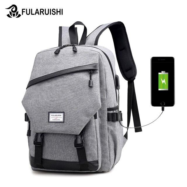 f467e308e891 Fularuishi 2018 New Tigernu For Men Backpack Anti-theft External USB Charge  Port For 14