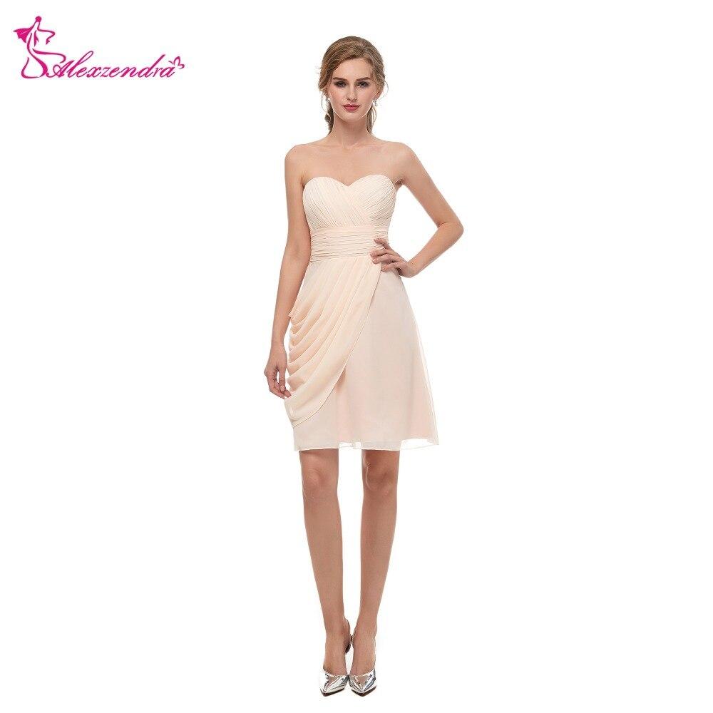Alexzendra Stock   Dress   Champagne Sweetheart Pleats Simple Mini   Prom     Dresses   Homecoming   Dresses   for Girls