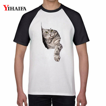 Mens Womens T-Shirt Funny Cat 3D Print Summer White Tops Short Sleeve Round Neck Unisex Animal Graphic Printed Tee Shirts