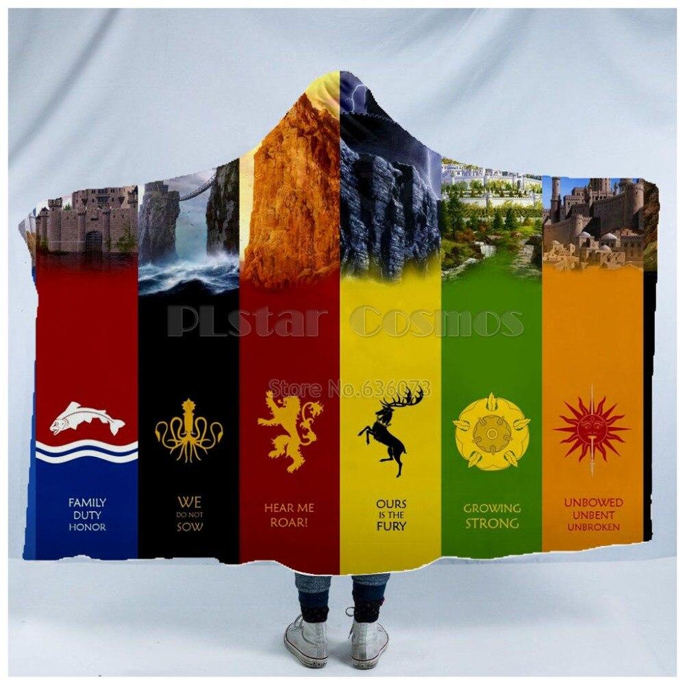 Plstar Cosmos Game of Thrones Blanket Hooded Blanket 3D full print Wearable Blanket Adults men women Blanket in Blankets from Home Garden