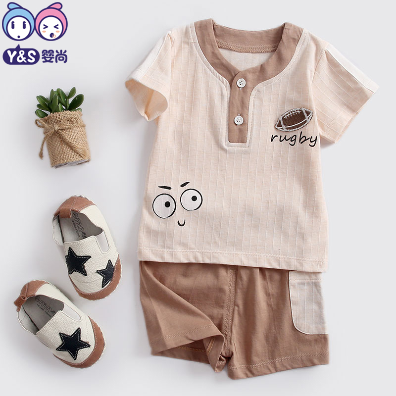 Y&S 2018 2pcs/set Baby Summer Clothing Boys Set Children Fashion Clothes Cotton Green Gray Cartoon Pattern Kids T-shirt+Shorts ...