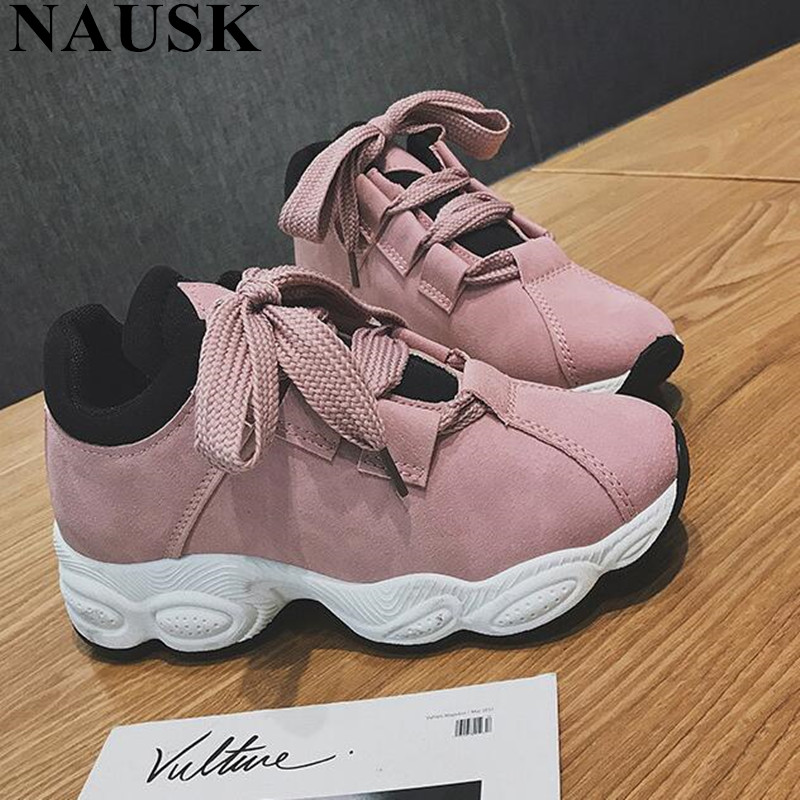 NAUSK 2018 New Spring Summer  Women  Sneakers Woman Shoes Vintage Pig leather Lace-Up Casual Shoes Ultra Hot Sale Size 35-40