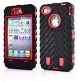 3in1 multi-capas de servicio pesado protección completa para iphone 4 4s ip4 4 s azul rojo armadura robot coque lastic case cubierta del teléfono