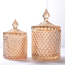 18CM*10CM big European yellow crystal glass storage 600ML jars sugar cans diamond candy box cotton swabs box cotton pad home