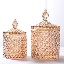 18 см * 10 см большой европейский желтый стекло хранения 600 мл банки банка для сахара diamond коробка конфет хлопок контейнер для хранения ватным тампоном дома