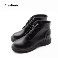 Cresfimix Botas Femininas Women Soft Pu Leather Lace Up Boots Lady Casual Black Brown Autumn Boots