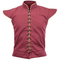 Cosplaydiy Medieval Mens Retro Doublet Cosplay Renaissance Gothic Red Vest Top Doublet Costume L0516