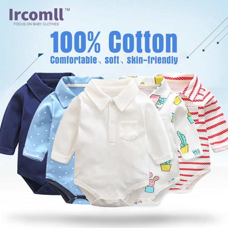 100% Cotton Long Sleeve Bodysuits For Newborns Baby Boy Clothes Turndown Shirt Collar Kids Jumpsuit Infant Clothing все цены