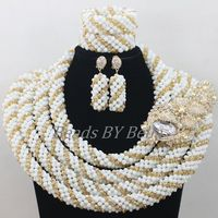 Big Chunky White Crystal Beads Bridal Jewelry Set Nigerian Beaded Necklaces Sets African Wedding Jewelry Free Shipping ABF682