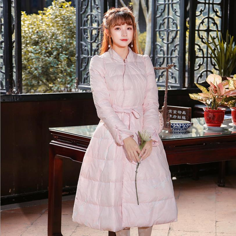 2018 winter new fashion brand vintage   down     coats   female pink sweet sashes slim long   down   jacket White duck   down   outerwear gx1657