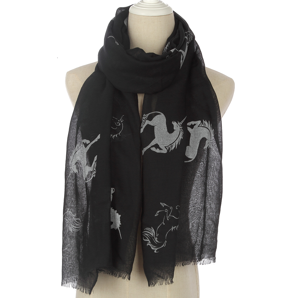 WINFOX 2018 New Fashion Women Black Navy  Horse Scarf