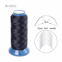 1 Roll black hair weaving thread High Intensity Polyamide Thread 12pcs 9cm weaving needles /C type needles/curved needle(China)