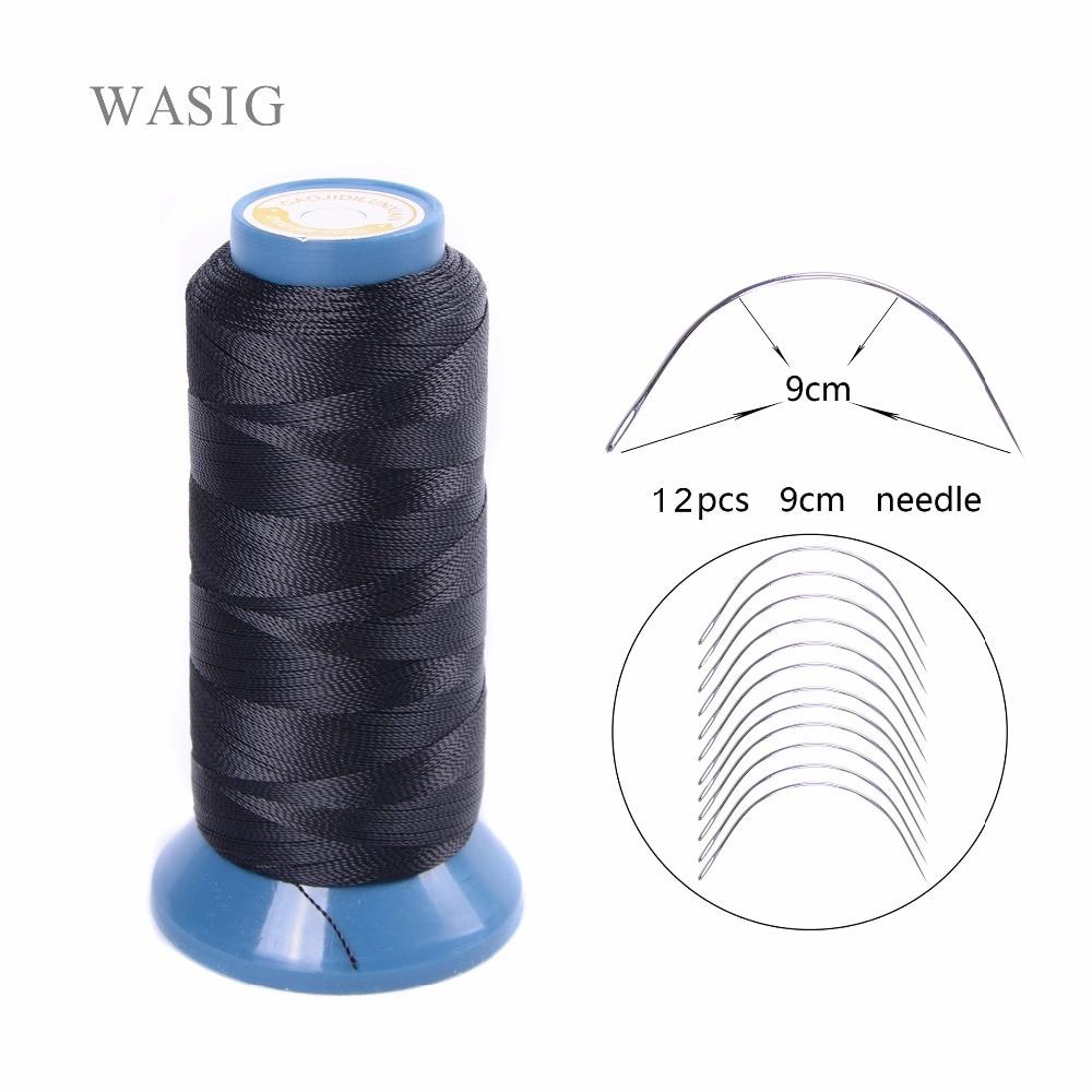 1 Roll black hair weaving thread High Intensity Polyamide Thread 12pcs 9cm weaving needles /C type needles/curved needle