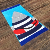 New Cartoon Shark Dolphin 80X160cm Big Beach Towel European and American Print 100% Cotton Bath Towel Sport Camping Adults