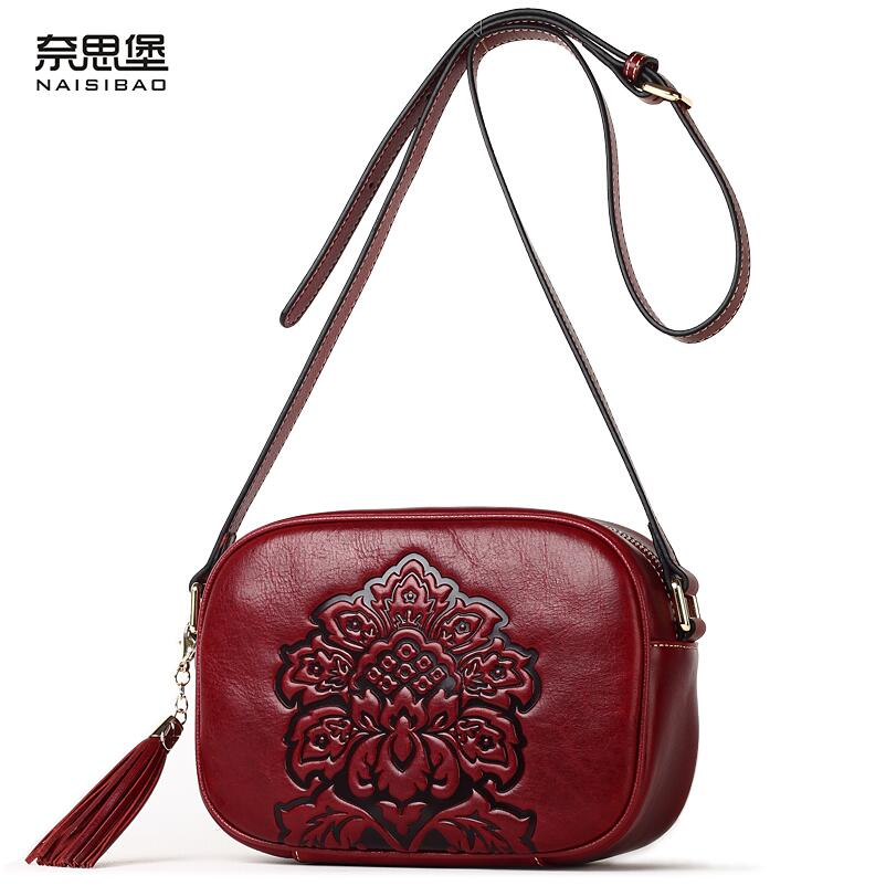 NAISIBAO genuine leather women bag fashion embossing top cowhide luxury handbags women bags designer women leather shoulder bag luxury genuine leather bag fashion brand designer women handbag cowhide leather shoulder composite bag casual totes