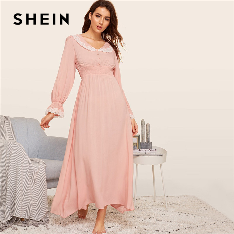 SHEIN Lady Pink Shirred Panel Lace Trim Bell Sleeve Nightgown Spring Solid Long Sleeve Maxi Night Dress V Neck Women Nightwear