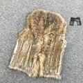 VR033 Mujeres Auténticos Reales Natural de piel de conejo de Punto Chalecos/Chaleco/gilet/abrigos con cuello de piel de Mapache borlas