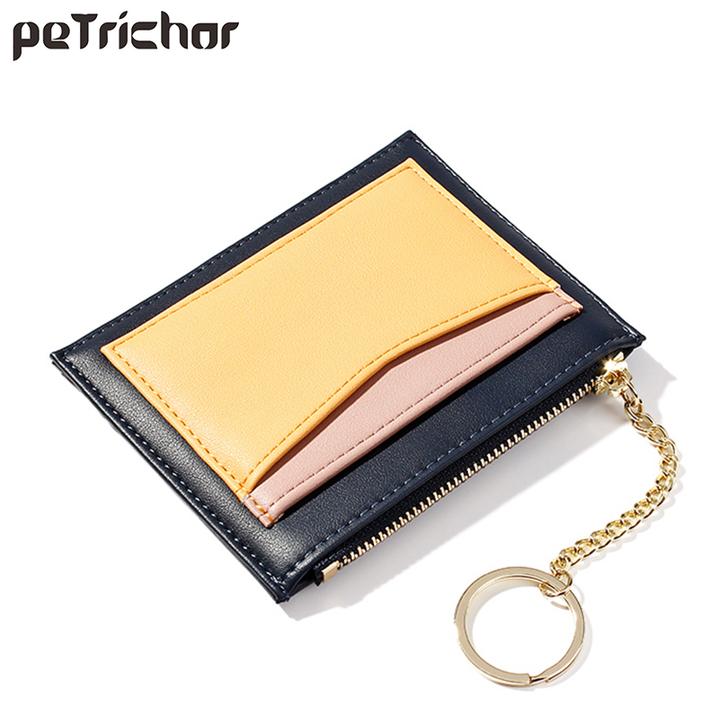 Luxury Slim Women Small Wallet and Purse Girls Short Leather Credit Card Holders Zipper Wallets Ladies Coin Purses Patchwork Bag