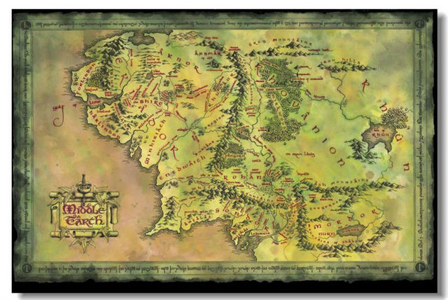 Map Of Middle Earth Movie Classical Stylish Custom Fashion Tatoo On ...