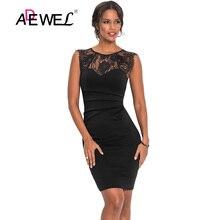 ADEWEL Sexy Black Lace Sleeveless Boydcon Party Mini Dress Women Sheer Patchwork Cocktail Short Dresses Vestidos