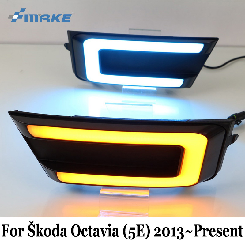SMRKE DRL For Skoda Octavia (5E) 2013~Present / Three-colour Car LED Daytime Running Lights With Turn Signal Lamp / Car Styling цена