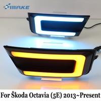 SMRKE DRL For Skoda Octavia (5E) 2013~Present / Three colour Car LED Daytime Running Lights With Turn Signal Lamp / Car Styling