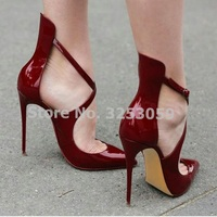 ALMUDENA Women Chic Wine Red Patent Leather Pointed Toe Pumps Stiletto Heels Cross Strap Banquet Shoes Burgundy Bridal Shoes