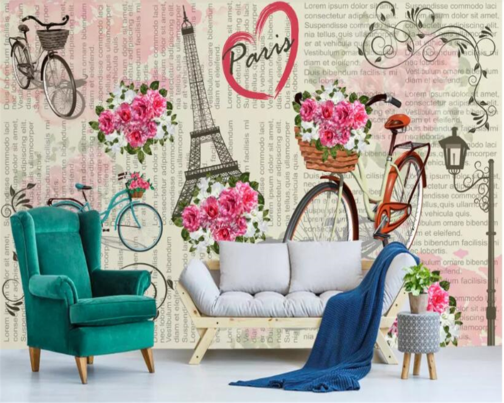 US $8.4 44% OFF|beibehang wall papers home decor 3d wallpaper Bedroom wall  wallpaper simple Paris bicycle flower wallpaper papel de parede 3d-in ...