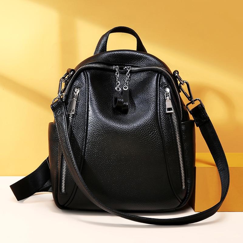 Plecak kobiety prawdziwej skóry torba kobiet skóry wołowej dziewczyny plecak prosta konstrukcja nastolatek panie torba na ramię plecak bolsa w Plecaki od Bagaże i torby na  Grupa 1