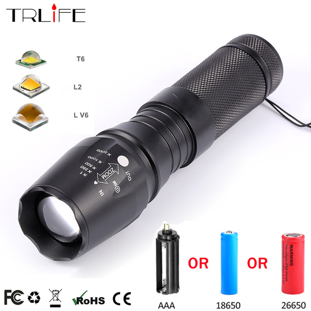 X800 LED El Feneri 10000 Lümen V6 L2 T6 Yakınlaştırma Flaş ışığı Kamp Kullanımı için Süper parlak LED Troch 18650 26650 LI-Ion pil