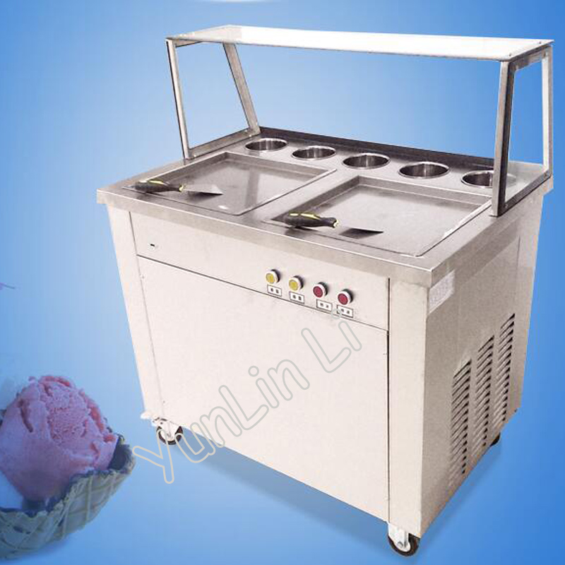 Movable Double Pots Commercial Fried Ice Cream Machine Roll Ice Cream Ice Frying Machine Roll Ice Cream Maker CB 340SF5XY