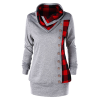 LANGSTAR Women Autumn Spring Sudaderas Plus Size Plaid Cowl Neck Sweatshirt Single Breasted Button Embellished Hoodies