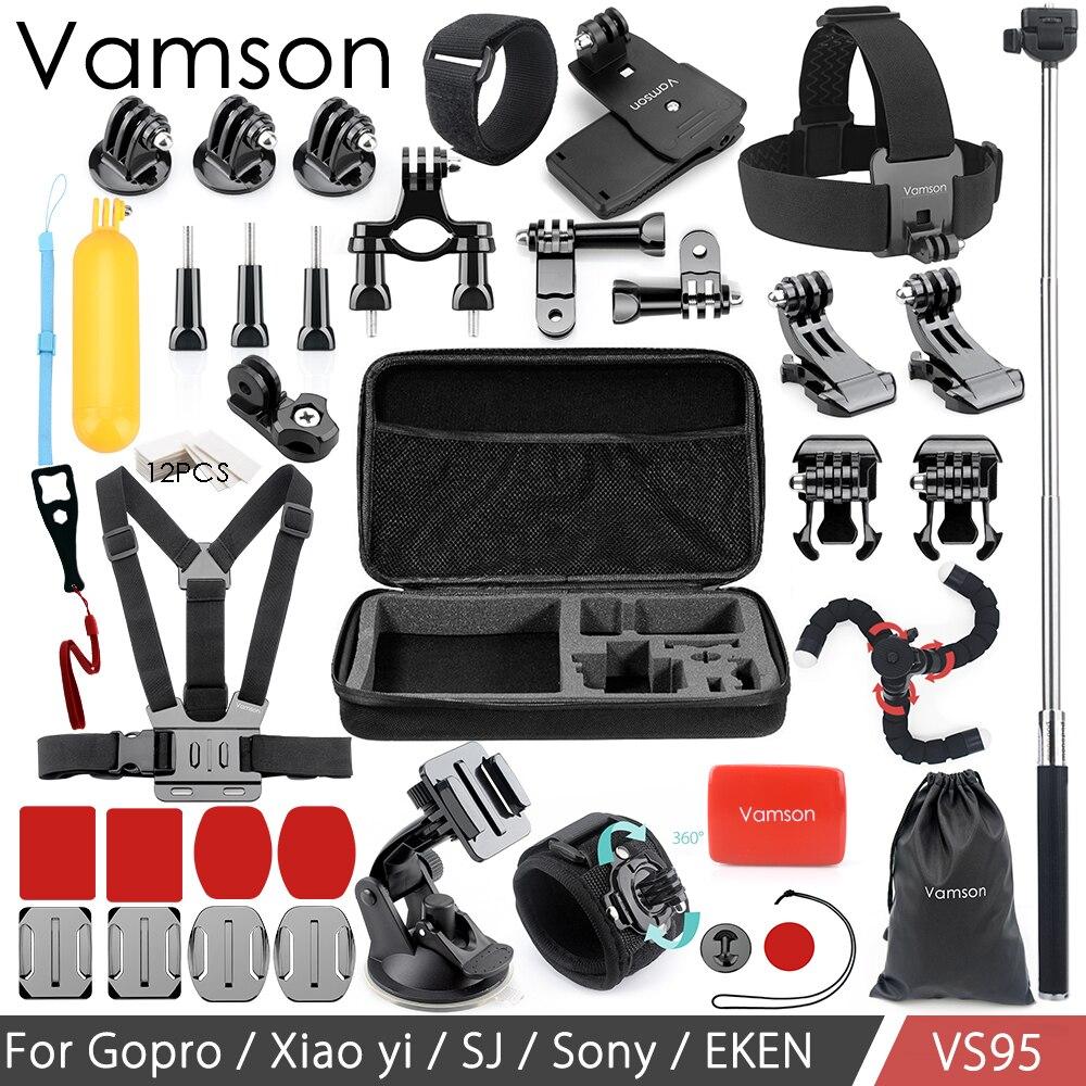 Vamson for Gopro hero 6 5 4 Accessories kit Set Collection Box Head Chest Strap Monopod Tripod for SJCAM for Xiaomi Camera VS95