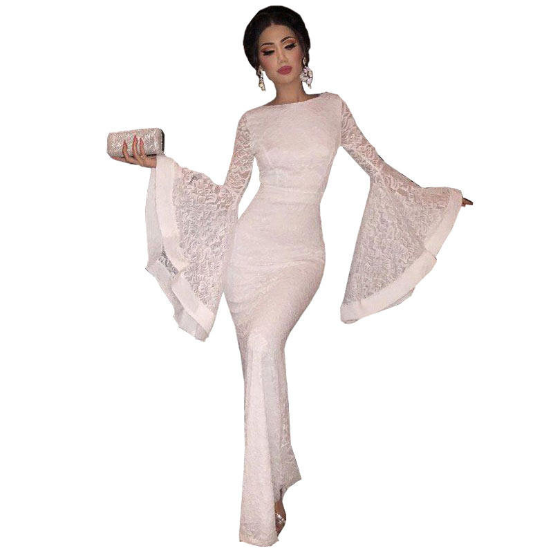 white Round collar Lace Mermaid Party Gowns Long Sleeves elegant   Evening     Dresses   Long Prom   Dress   abiye gece elbisesi