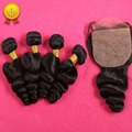 Silk Base Closure With Bundles 7A Mongolian Virgin Hair With Closure Loose Wave 5 Pcs/Lot Human Hair Bundles With Closure