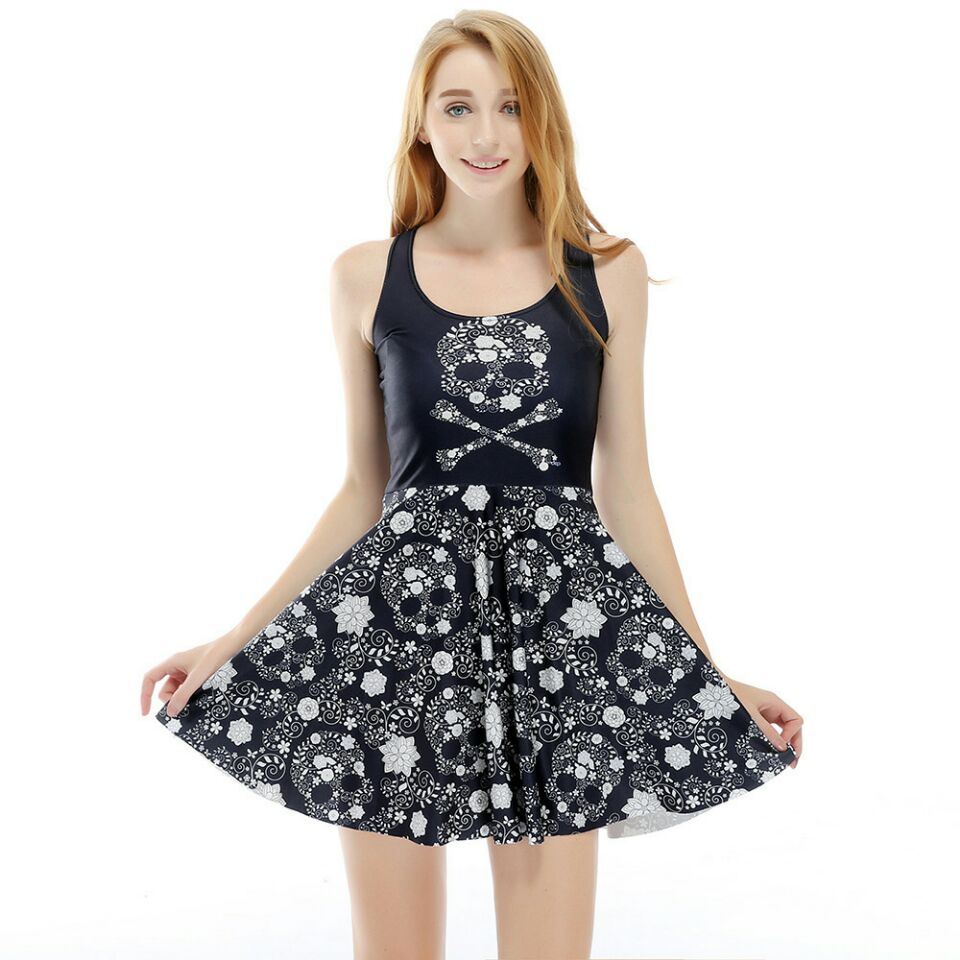 Adult  Women Female Girl Halloween Skull 3D Flower Digital Printing sleeveless Black Full-skirted Short Dress