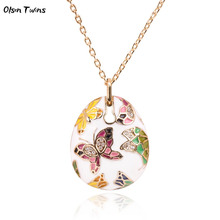 Olsen Twins Colorful Enamel Rhinestone Gold Butterfly Pendant Necklace Chinese Style Cloisonne Jewelry Dropshipping