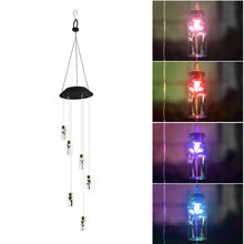 Solar Powered Glowing wind chimes Light window hanging LED Garden Hanging Spinner Lamp Color Changing Home Decoration wholesale(China)