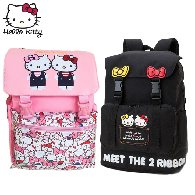 Cute Hello Kitty Backpack Cartoon Children School Bag Kids Best Girls Bag  Teenagers Backpack Hellokitty Travel Bag High Quality d8fe6be93e97a
